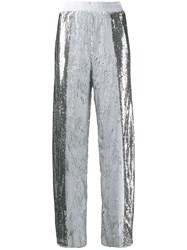 Nude Sequin Track Trousers Silver