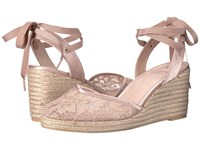 Adrianna Papell Penny Blush 1890 Lace Women's Wedge Shoes Beige