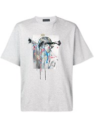 Diesel Black Gold T Shirt With Melting Soldier Print Grey