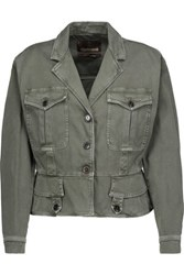 Roberto Cavalli Lace Up Denim Jacket Army Green