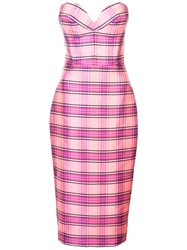 Christian Siriano Plaid Strapless Dress Pink