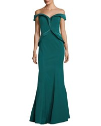 Rene Ruiz Embellished Off The Shoulder Evening Gown Teal