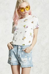 Forever 21 Burnout Graphic T Shirt White Multi