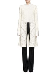 Oscar De La Renta Bird's Nest Crochet Virgin Wool Blend Cardigan White