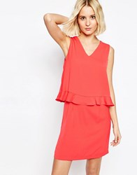 Paisie V Neck Dress With Ruffle Trim Strawberry