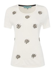 Dickins And Jones Jersey Cluster Top Ivory
