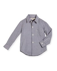 Appaman Long Sleeve Cotton Gingham Shirt Blue Blue Check