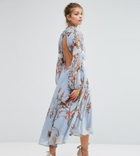 Hope And Ivy Printed Open Back Midi Dress With Lace Inserts Blue Multi Print