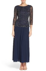 Pisarro Nights Women's Embellished Mesh And Chiffon Gown
