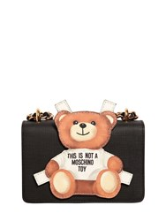 Moschino Teddy Bear Tab Leather Shoulder Bag