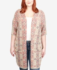 Lucky Brand Trendy Plus Size Geo Print Cardigan Natural Multi