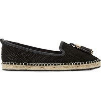 Dune Grove Tasselled Leather Espadrille Loafers Black Reptile