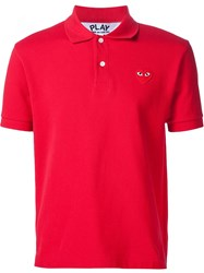 Comme Des Gara Ons Play Heart Application Polo Shirt Red