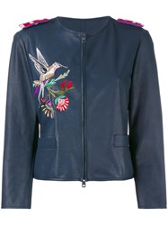 Emporio Armani Embroidered Fitted Jacket Women Goat Skin Polyester Viscose 44 Blue