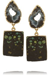Dara Ettinger Chastity Gold Plated Earrings Green