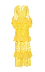Costarellos Ruffle Sleeve V Neck Silk Chiffon Long Dress Yellow