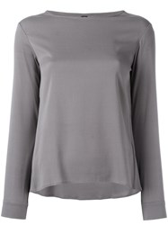 Eleventy Long Sleeved Top With Scoop Neckline Grey