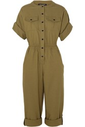 Vanessa Seward Bacan Woven Cotton Jumpsuit Army Green