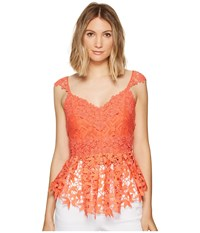 Nicole Miller Kinsey Crochet Lace Top Coral Reef Women's Clothing Red