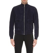 Alexander Mcqueen Reversible Suede And Leather Jacket Black Ink Blue