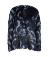 Juicy Couture Wild Faux Fur Coat Navy