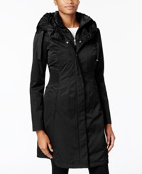 T Tahari Ruched Waist 3 In 1 Raincoat Black