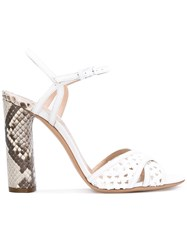 Casadei Perforated Open Toe Sandals Women Leather Polyamide Kid Leather 39 White