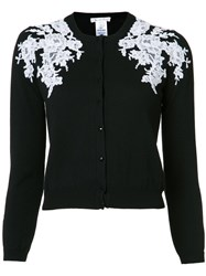 Oscar De La Renta Lace Applique Cardigan Black