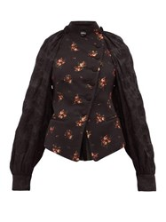 Ann Demeulemeester Panelled Cotton Blend Floral Jacquard Jacket Black Multi
