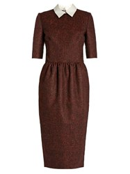 Stella Jean Tirare Point Collar Checked Dress Burgundy