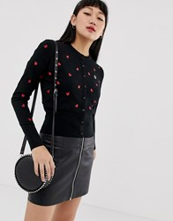 Fred Perry Amy Winehouse Foundation Heartprint Cardigan Black