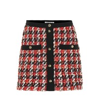 Alessandra Rich Plaid Wool And Mohair Blend Miniskirt Red