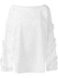 Msgm Boat Neck Broderie Blouse Women Cotton Polyester 42 White