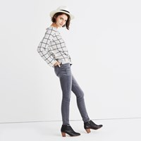 Madewell Laced Back Pullover Sweater In Windowpane Jacquard Marled Pumice