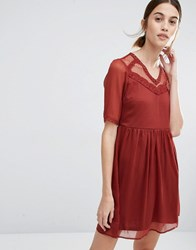 Vero Moda Mesh Yoke Skater Dress Fired Brick Brown