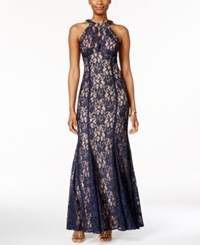 Nightway Petite Lace Keyhole Halter Gown Navy Nude