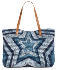 Inc International Concepts I.N.C. Marthaa Star Extra Large Straw Tote Blue