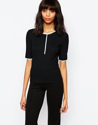 Monki Button Up T Shirt Black
