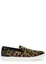 Dolce And Gabbana Leopard Print Calf Hair Skate Shoes Olive