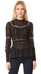 Veronica Beard Lakewood Lace Victorian Blouse Black