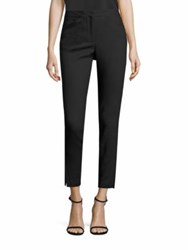 Halston Wool Gabardine Straight Ankle Pants Black