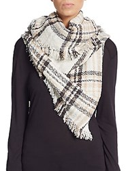 Saks Fifth Avenue Traveler Plaid Fringe Scarf Polar White