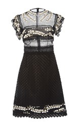 Costarellos Embroidered Tulle A Line Short Dress Black