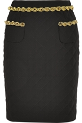 Moschino Chain Trimmed Quilted Crepe Skirt