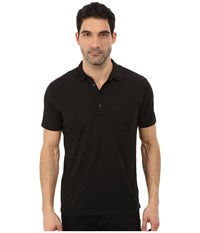 7 For All Mankind Raw Placket Polo Black Men's Short Sleeve Pullover