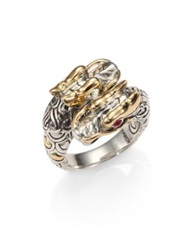 John Hardy Naga Ruby 18K Yellow Gold And Sterling Silver Double Dragon Ring Gold Silver