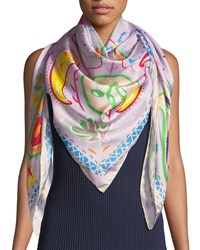 Jane Carr The Fauve Silk Twill Square Scarf Violet