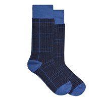 Kloters Milano Glencheck Brown And Light Blue Socks Blue Grey