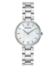 Bulova Ladies' Classic Analog Stainless Steel And Mother Of Pearl Watch Silver