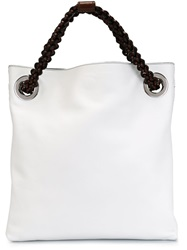 Roberto Cavalli Braided Handle Tote White